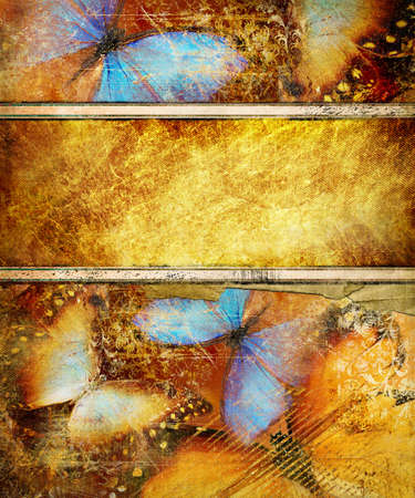 decorative golden background with butterflies Stock Photo