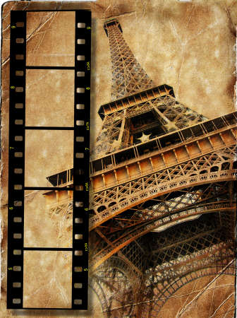vintage background with film strip photo