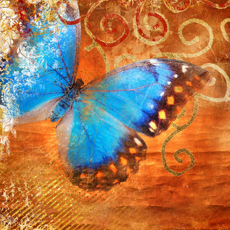 scrap gold: artistic background with butterfly