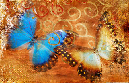 scrap gold: artistic background with butterflies