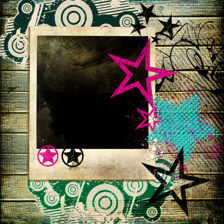 trendy retro background  with instant frame photo