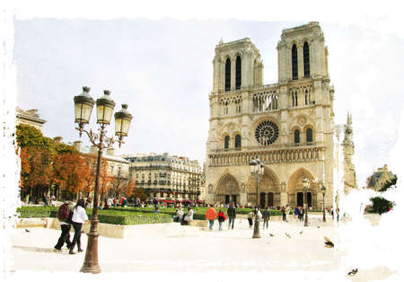 notre dame cathedral: Parisian pictures series -watercolor style