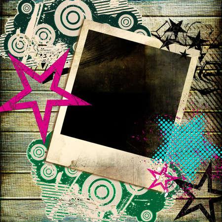 grafitis: moda retro con antecedentes instant�nea marco