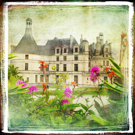famous place: Chambord castle -retro styled picture