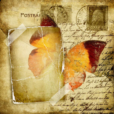 postcard background:   vintage photoalbum pages with butterfly Stock Photo