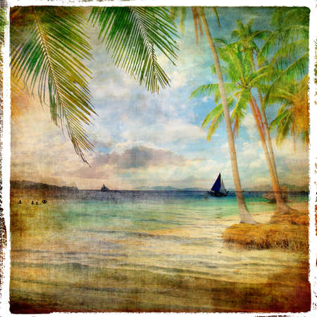 tropical sunset - retro styled picture Stock Photo