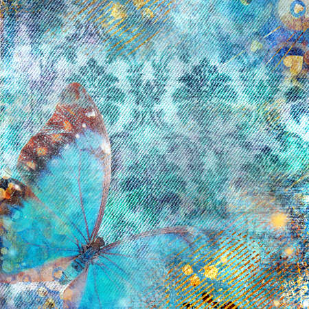 fabrick: blue background with butterfly Stock Photo