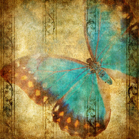 turquoise wallpaper: vintage background with butterfly Stock Photo