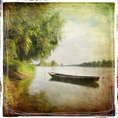 old boat - retro styled pictuer photo