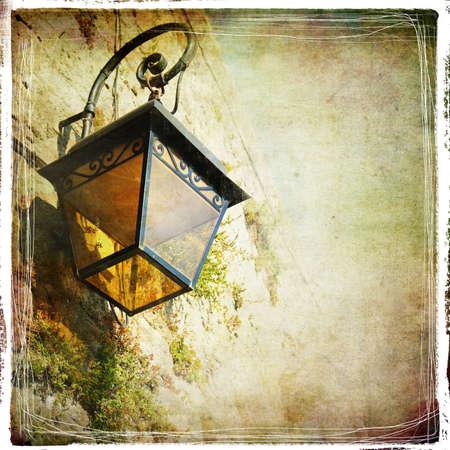backstreet: old lantern- retro styled pictuer Stock Photo