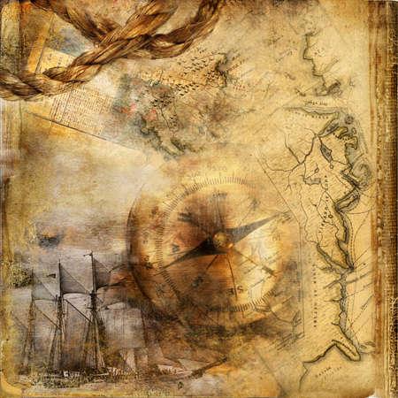 compas de dibujo: viejo libro de aventuras Foto de archivo