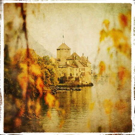 gloomy: autumn castle- retro styled pictuer