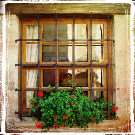 french countryside: old window - retro styled pictuer Stock Photo