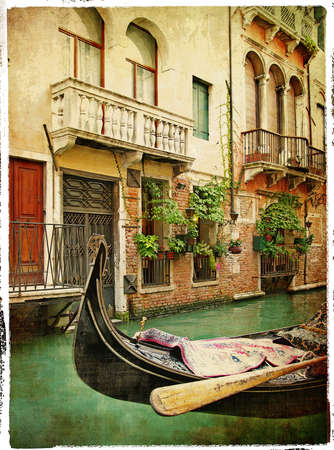 Gondolas of Venice - retro styled Stock Photo - 5435267