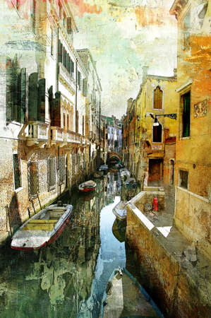 oil on canvas: Venetian pictures - artwotk in painting style Stock Photo