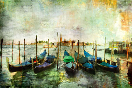 Venetian gondolas - painting style photo