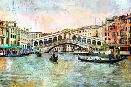 canal house: Rialto bridge - Venetian picture - artwork in painting style Stock Photo