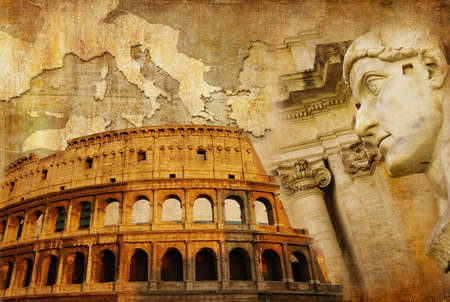 ruins is ancient: roman empire  - conceptual collage in retro style  Stock Photo