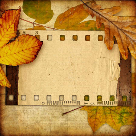 photoalbum: autumn photoalbum with retro film strip Stock Photo