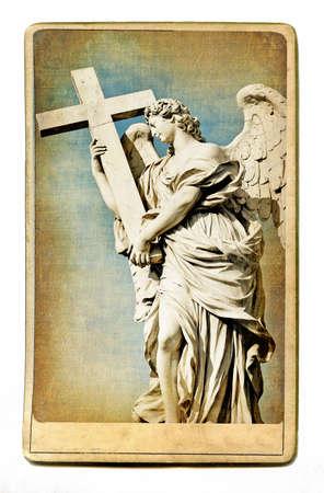 tiber: vintage cards series - european landmarks -roman sculpture