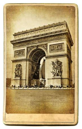 vintage paris: vintage cards series - european landmarks Arc de trimph Stock Photo