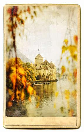 monument valley view: vintage cards series - european landmarks Chillion castle Stock Photo
