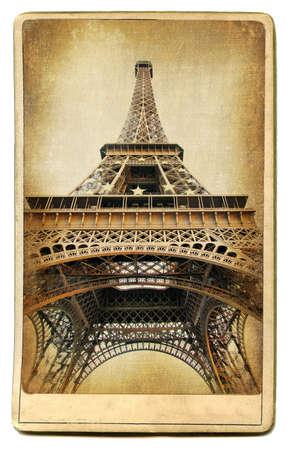 construction paper art: vintage cards series - european landmarks Eiffel tower Stock Photo