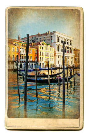 famous painting: vintage cards series - european landmarks Venice Stock Photo
