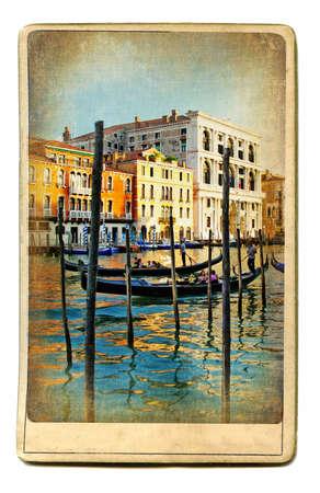 italian sea: vintage cards series - european landmarks Venice Stock Photo