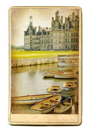 chambord: vintage cards series - european landmarks Chambord castle Stock Photo