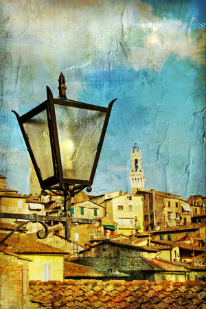 vintage cards series - european landmarks - Siena Stock Photo - 5768905