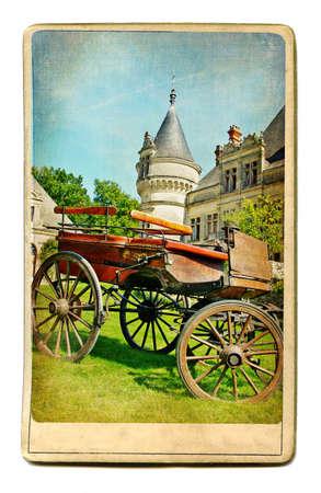 monument valley view: vintage cards series - european landmarks castles of Drance