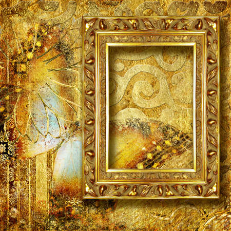 golden background with frame photo