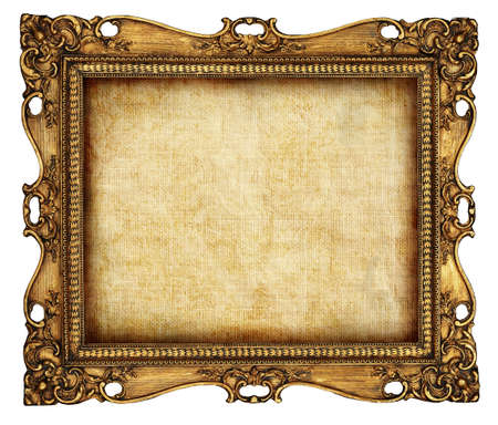 the borderline: antique frame with old canvas Stock Photo