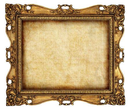 marcos decorados: marco antiguo con lienzo viejo Foto de archivo