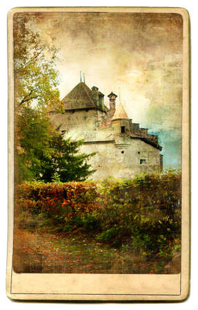 medieval swiss  castle - vintage card photo