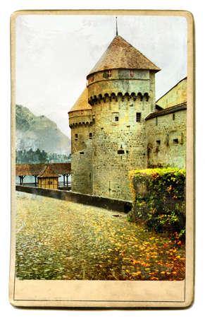 historical romance: medieval swiss  castle - vintage card