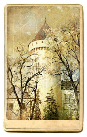 castello medievale: medieval  castle - vintage card