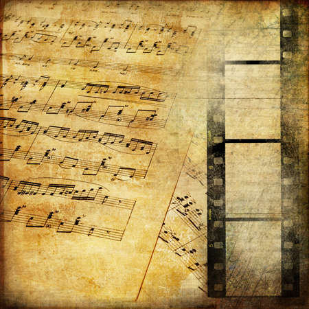 vintage musical pages with filmstrip