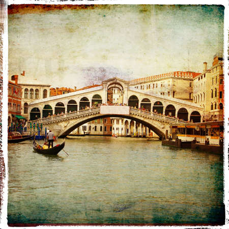 gondolas: Venetian vintage card