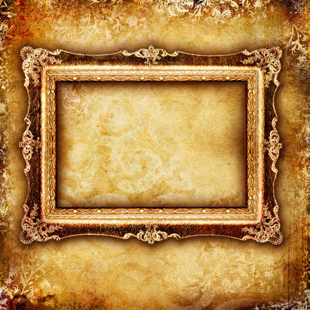 aged paper: antique frame over old background Stock Photo
