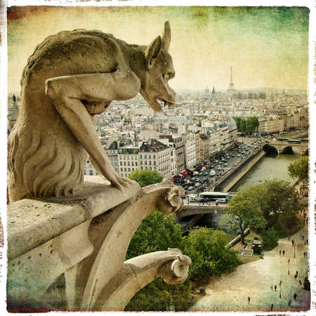 gargoyle: beautiful parisian detail - retro styled