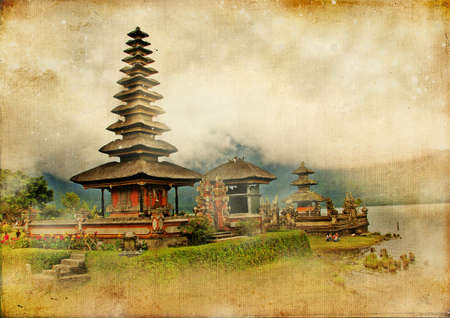 bali temple: balinese temple - retro styled