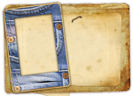 photoalbum: denim frame  - vinatge photoalbum Stock Photo