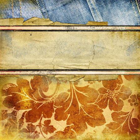 denim jeans: old torn paper-denim background