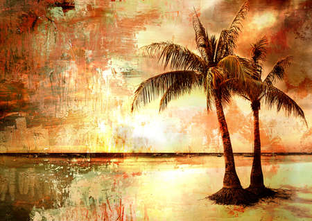 oil palm: tropical sunset - artwork in painting style  Stock Photo