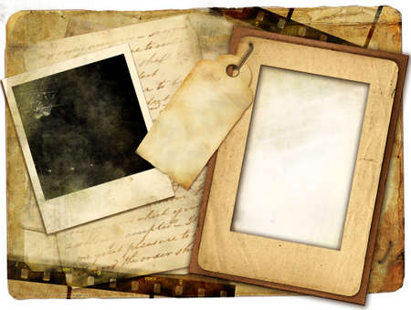 old album: old papers and frames - vintag background Stock Photo