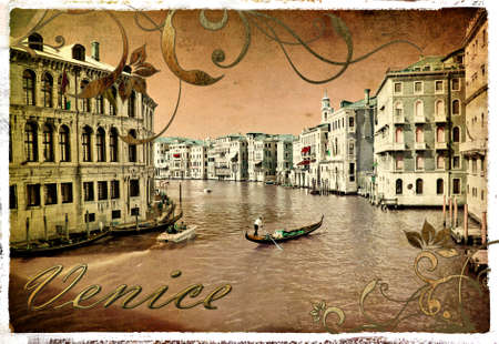 pictorial old Venice - piture in retro style Banco de Imagens