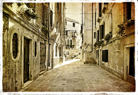 sepia toned: old streets of Venice - picture in retro style