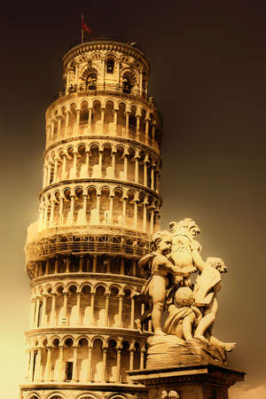 leaning tower of pisa: Pisa tower - great italian landmarks series - artistic toned picture